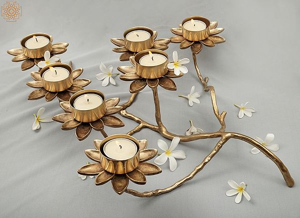 Breath-Taking Designer Flower Candle Stand / Holder | Handmade | Home Décor | Decorative Object / Accents | Brass | Made In India