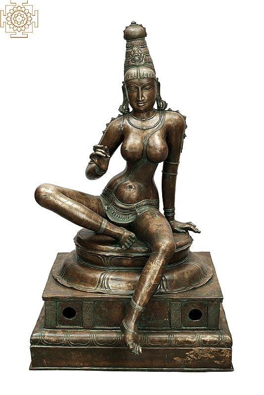"34"" Superfine Bhogashakti (Seated Parvati (Uma)   Madhuchista Vidhana (Lost-Wax)   Panchaloha Bronze from Swamimalai"