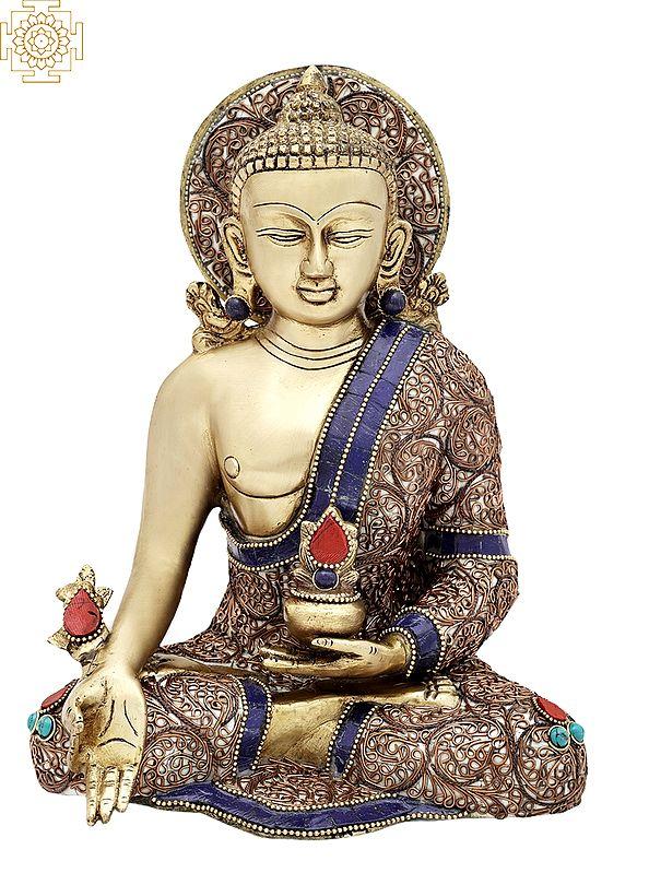 "10"" Tibetan Buddhist Healing Buddha   Medicine Buddha   Inlay Work   Brass Statue  "