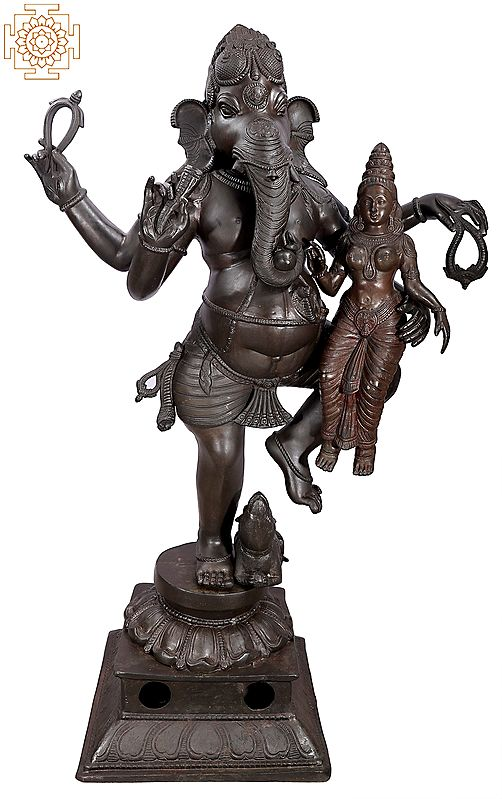 Large Size Lord Ganapati with His Shakti