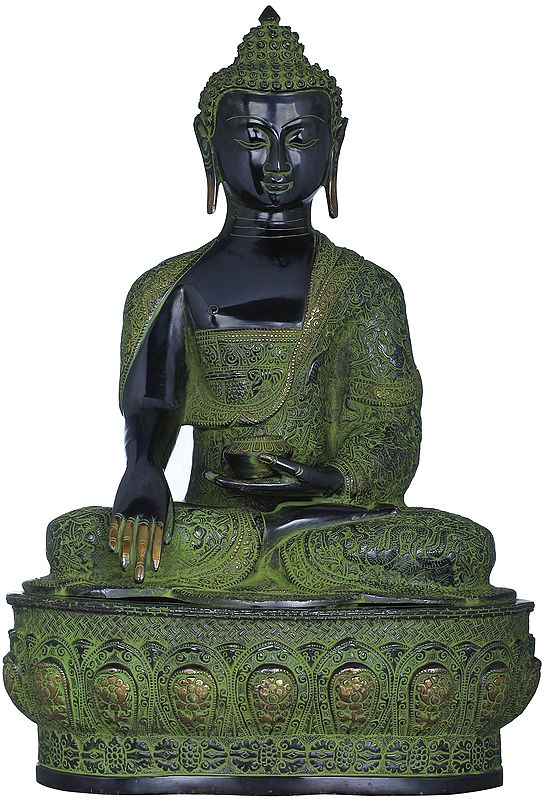Lord Buddha in Bhumisparsha Mudra (Robes Decorated with Auspicious Symbols, Dharmachakra, Deers,  Birds and Dragons etc.)