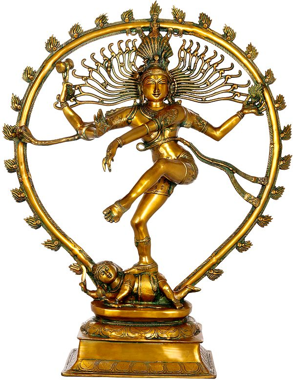 Large Size Nataraja in Golden and Green Hues
