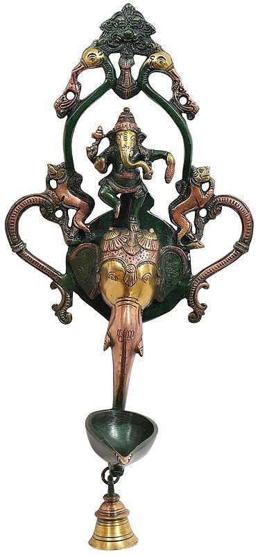 Dancing Ganesha Wall Hanging Lamp with Bell and Kirtimukha