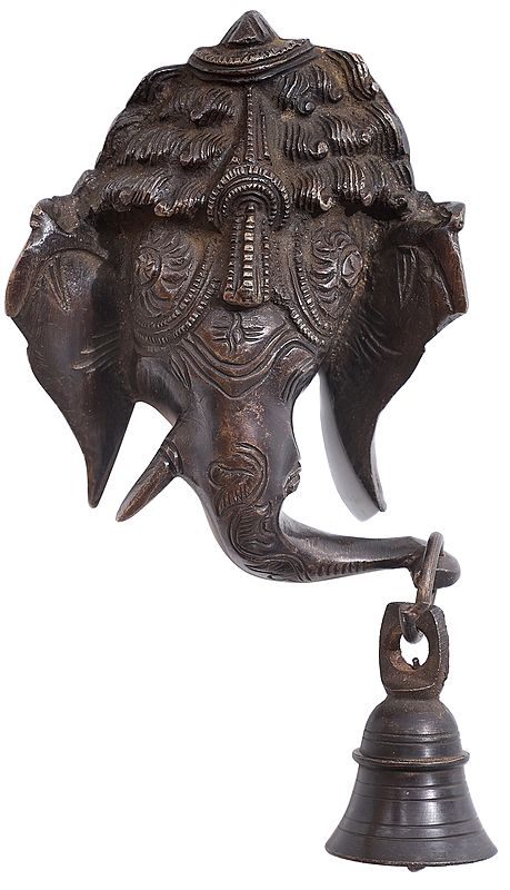 Lord Ganesha Wall Hanging Mask with Bell