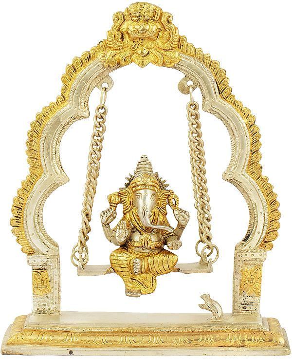 Lord Ganesha on a Swing with Kirtimukha Atop