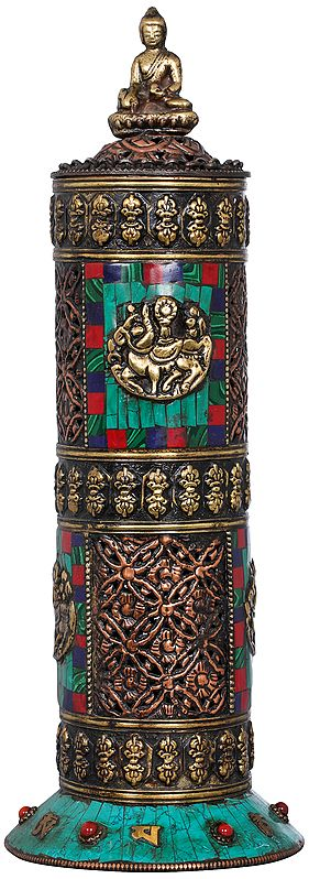 Tibetan Buddhist Incense Burner From Nepal with auspicious Symbols