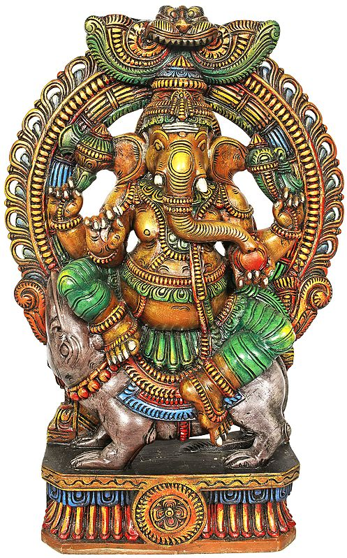 Lord Ganesha Seated On His Vahana - Large Size
