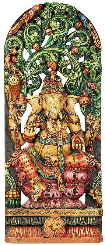 Shri Ganesha Seated on Lotus with Vegetative Aureole