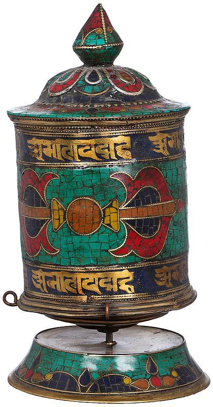 Tibetan Buddhist Dorje Prayer Wheel On Stand -Made in Nepal
