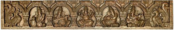 Five Musical Ganeshas Panel