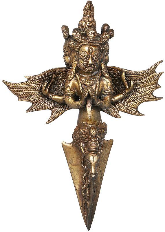 Three Headed Mahakala Phurpa With Wings - Tibetan Buddhist