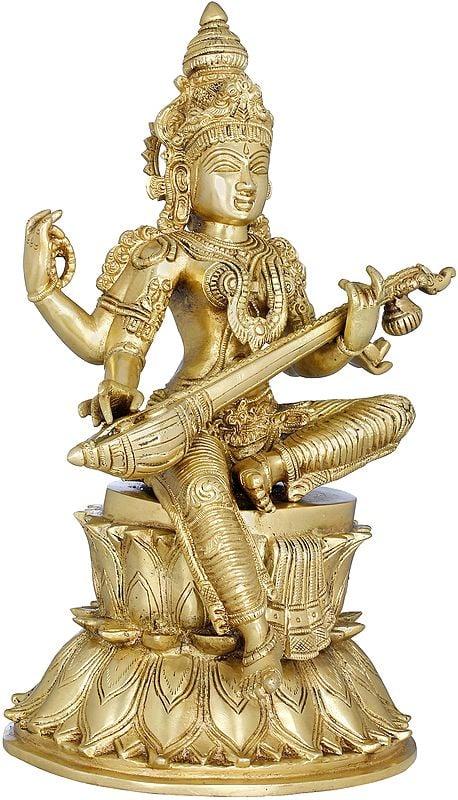 The Goddess of Music and Art Strumming Her Veena