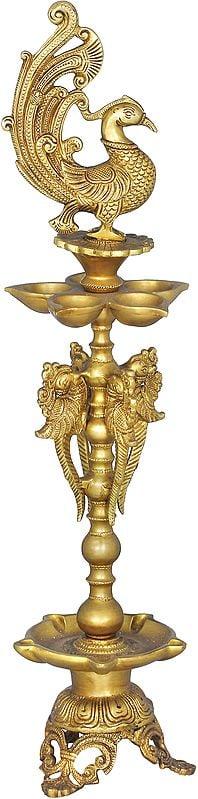 Ten Wicks Peacock Lamp
