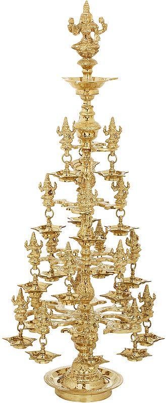 Auspicious Lamp of Goddess Lakshmi - With Twenty Two Lakshmi Statues