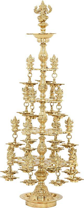 The Multitude of Auspiciousness - Large Ganesha Lamp With Twenty Two Ganeshas
