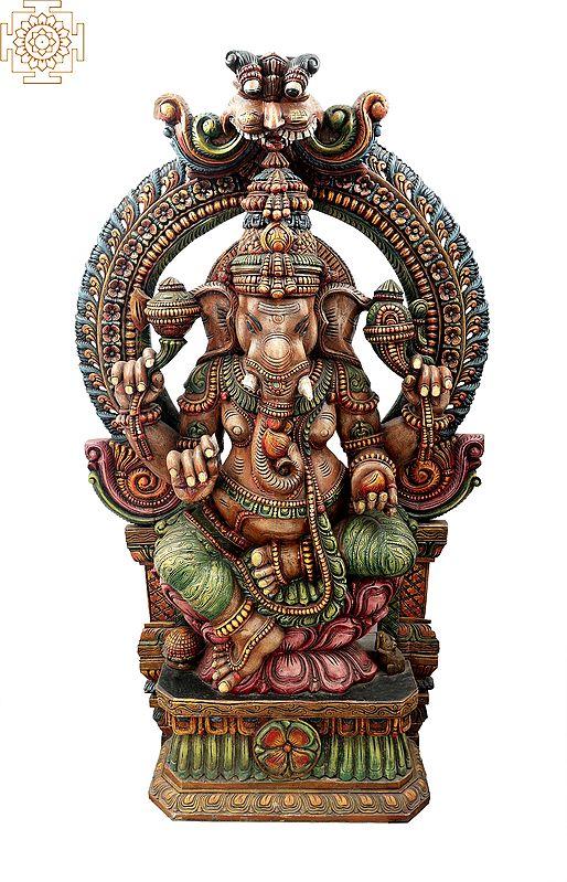 Large Ganesha Seated On Lotus Throne with Large Kirtimukha Floral Aureole