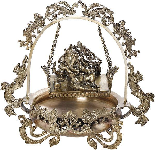 Bronze Urli With Lord Ganesha On Swing