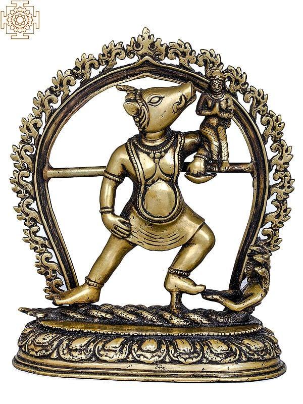 Varaha Avatara of Vishnu Standing On Sheshanaga With Bhudevi - Made in Nepal