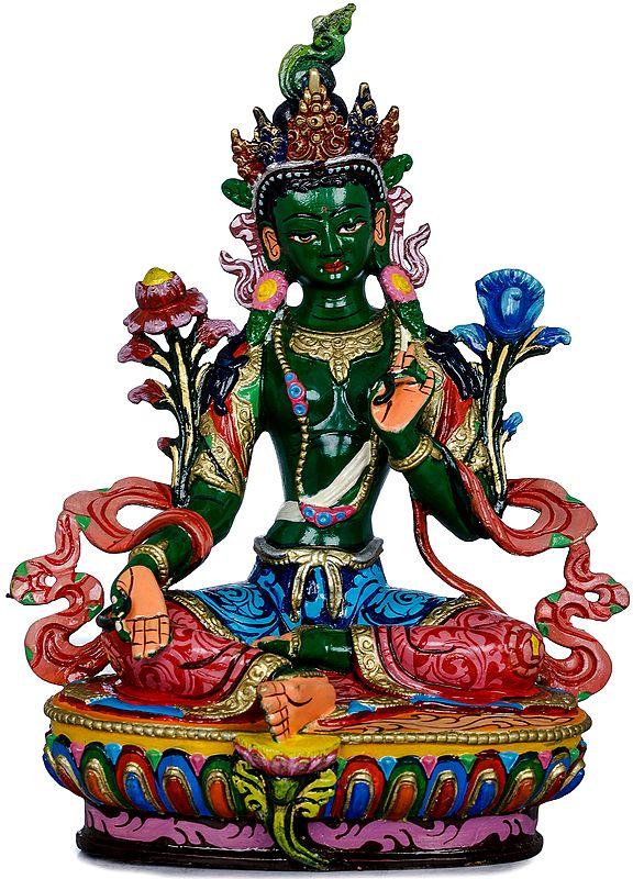 Tibetan Buddhist Goddess Green Tara in Green Hue - Made in Nepal
