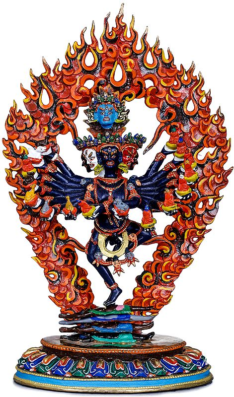 Tibetan Buddhist Deity With Seven Heads and Sixteen Arms - Made in Nepal