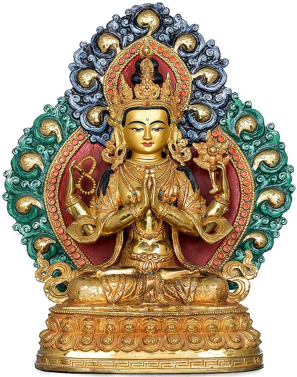 Superfine Tibetan Buddhist Deity Four Armed Avalokiteshvara (Chenrezig) Made in Nepal