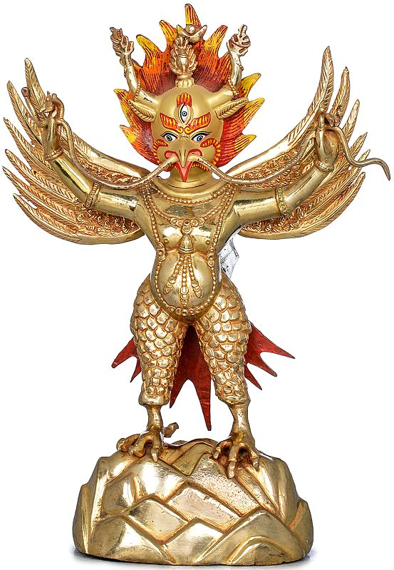Standing Garuda, With a Snake In His Hand - Made in Nepal