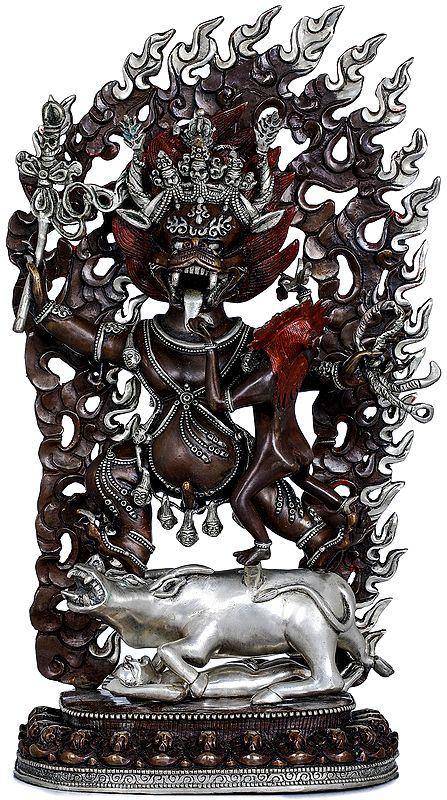 Dharmaraja Yama with Yami - Made in Nepal Tibetan Buddhist Deity
