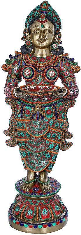 Large Size Deepalakshmi With Fine Inlay Work