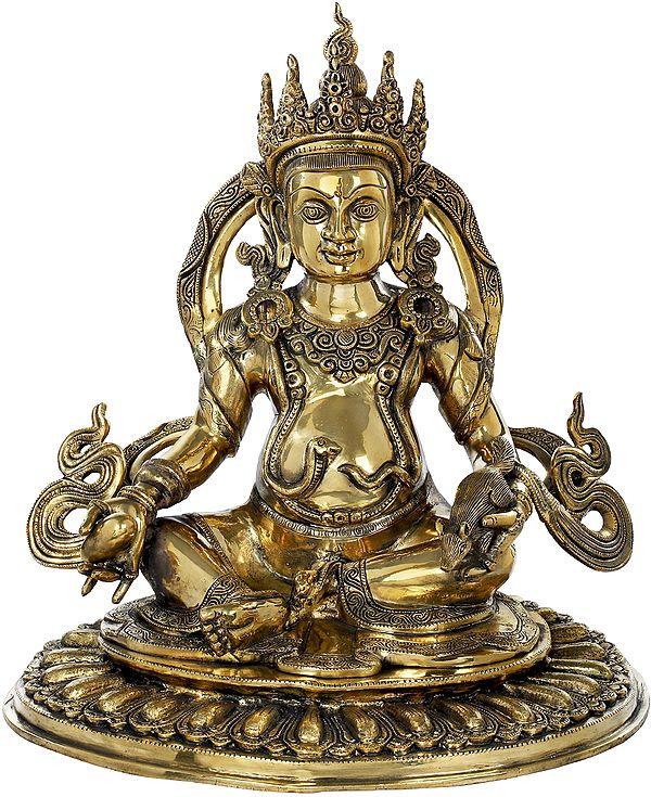 Buddhist Kubera Seated On A Pedestal Of Flattened-Out Lotus Pedestal