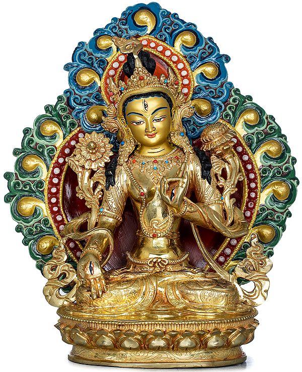 Superfine Tibetan Buddhist Seven Eyed Goddess White Tara - Made in Nepal