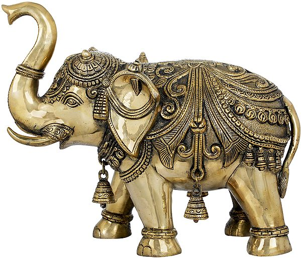 Decorated Elephant with Bells and Upraised Trunk (Supremely Auspicious according to Vastu)