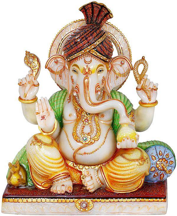Fine Turbaned Ganesha Wearing Yellow Dhoti