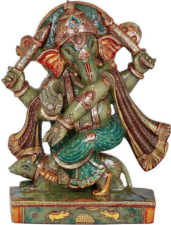 Dancing Ganesha Carved in Jade Gemstone