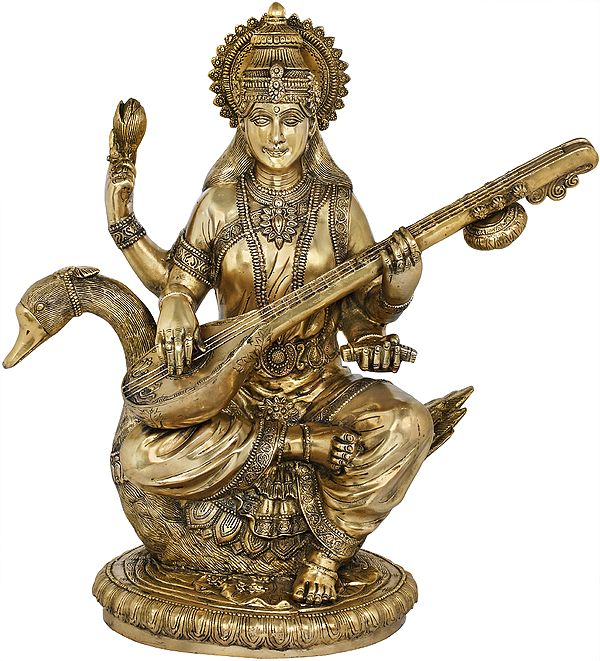 Veena-Vadini Devi Saraswati Seated on Her Swan