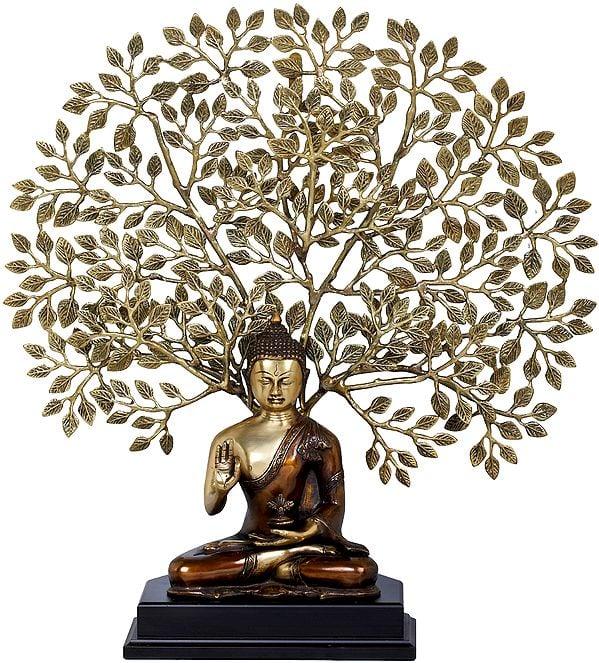 Tibetan Buddhist Seated Lord Buddha, The Elaborate Bodhi Tree in Background