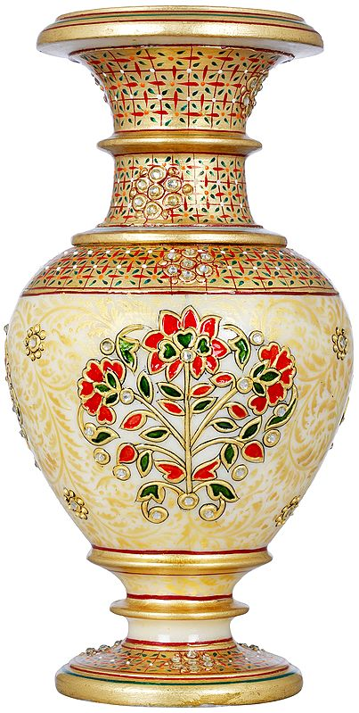 Marble Vase Decorated With Floral Design