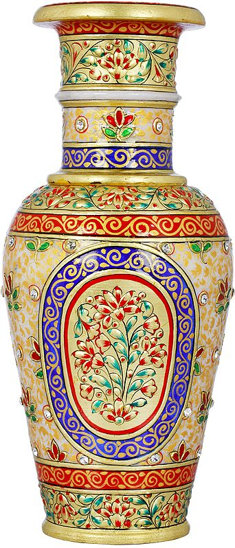 Colorfully Decorated Marble Vase