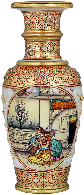 Vase With Mira Bai Painted On Two Sides