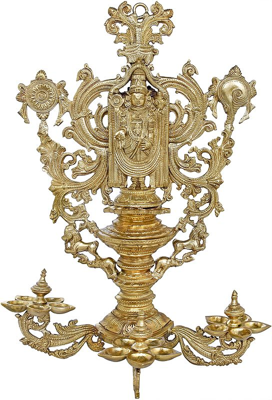 Lord Balaji Wall-Hanging, A Multitude Of Lamps At His Feet