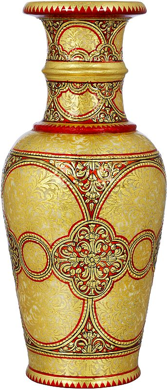 Red And Gold Marble Vase