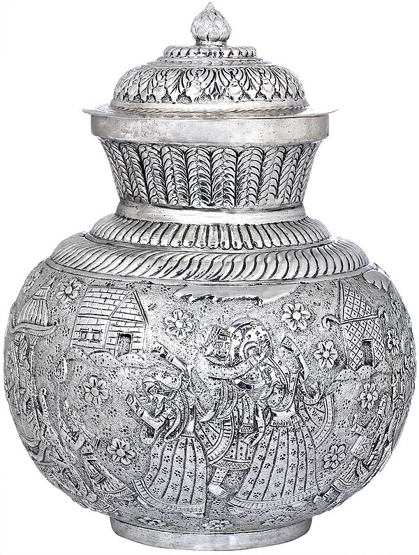Fine Quality Kalasha Engraved With Royal Procession