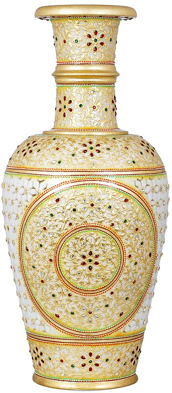 Finely Hand Painted Superfine Marble Vase With Latticework