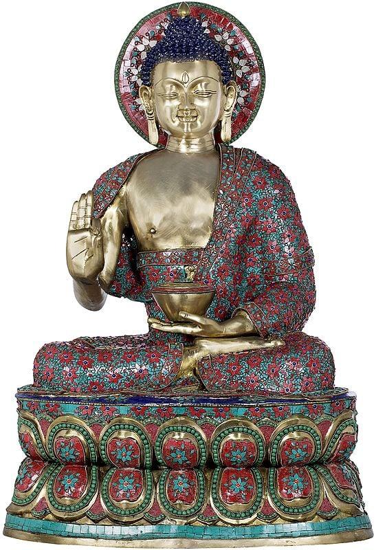 Large Inlay Preaching Buddha - Tibetan Buddhist