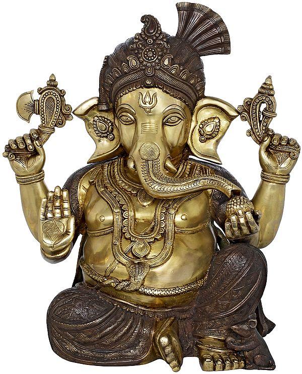 Ganesha Wearing Royal Crown and Turban