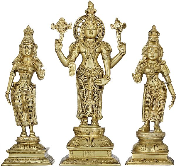 Vishnu ji with Lakshmi and Bhudevi ji