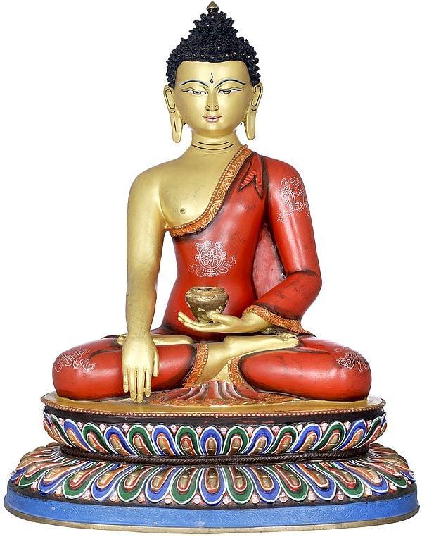 Superfine Lord Buddha Seated on Double Lotus - Made in Nepal Tibetan Buddhist Deity