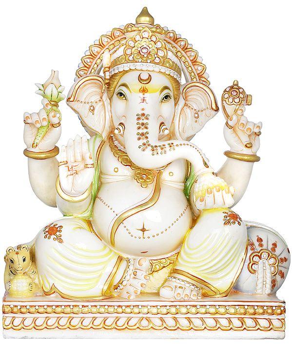 Seated Chaturbhuja Ganesha with Cushion