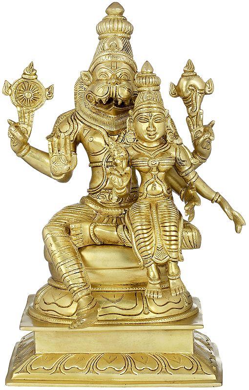 Narasimha with Lakshmi - Fourth of the 10 incarnations (Avatars) of Lord Vishnu