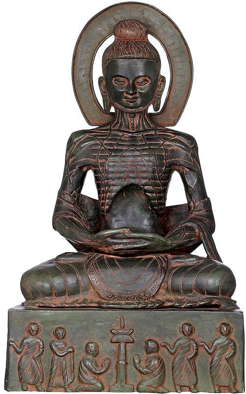 Emaciated Buddha Assuming The Uddiyana Bandha, On Homage Pedestal
