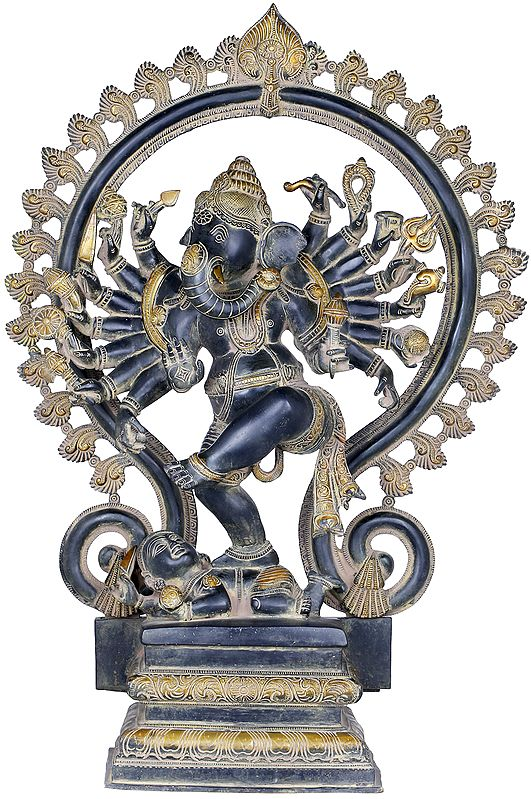 Sixteen Armed Dancing Ganesha Represented as Nataraja